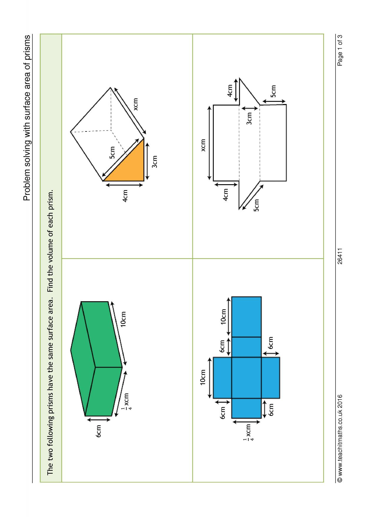 Problem Solving With Surface Area Of Prisms