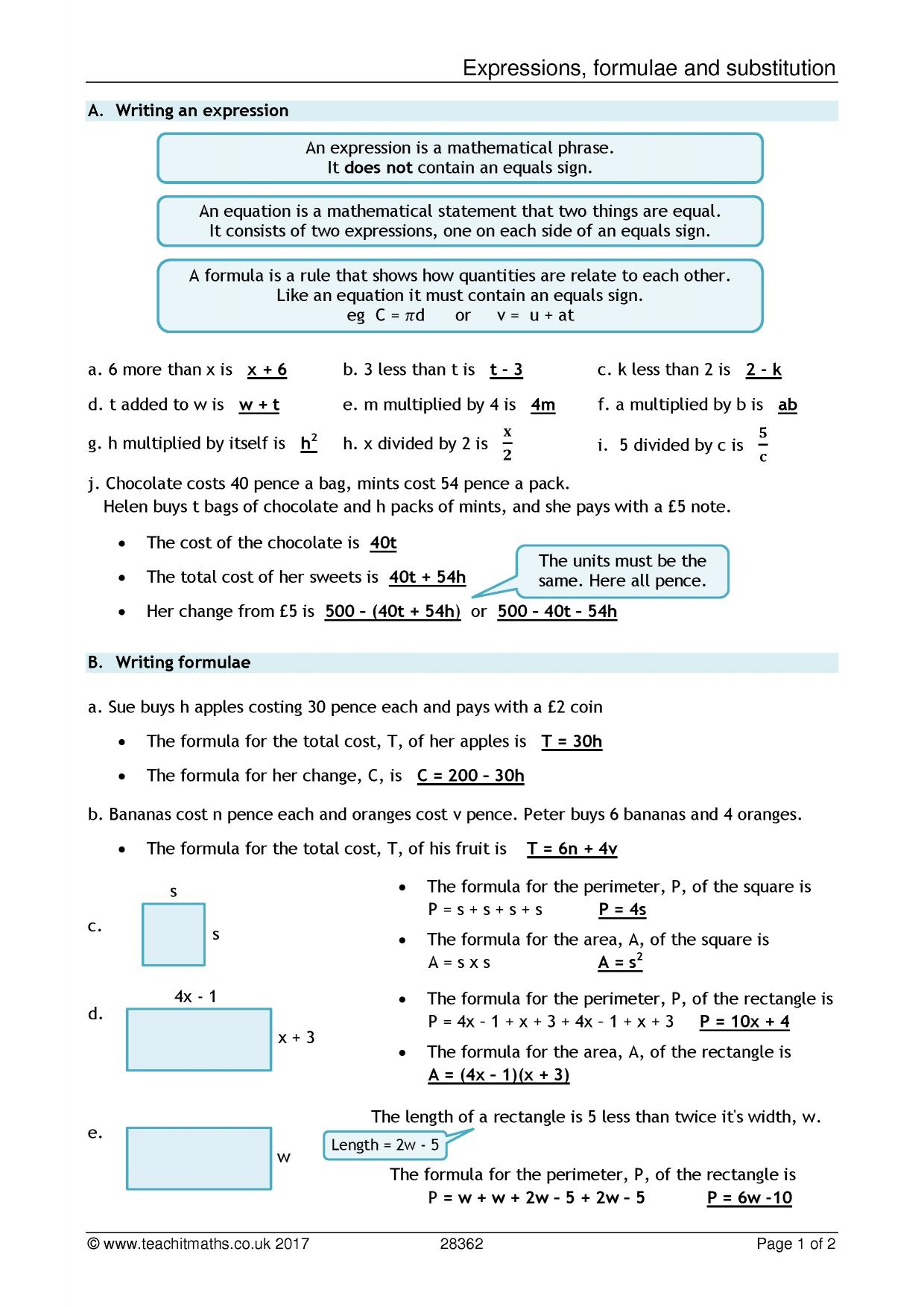 The Nth Term Worksheet