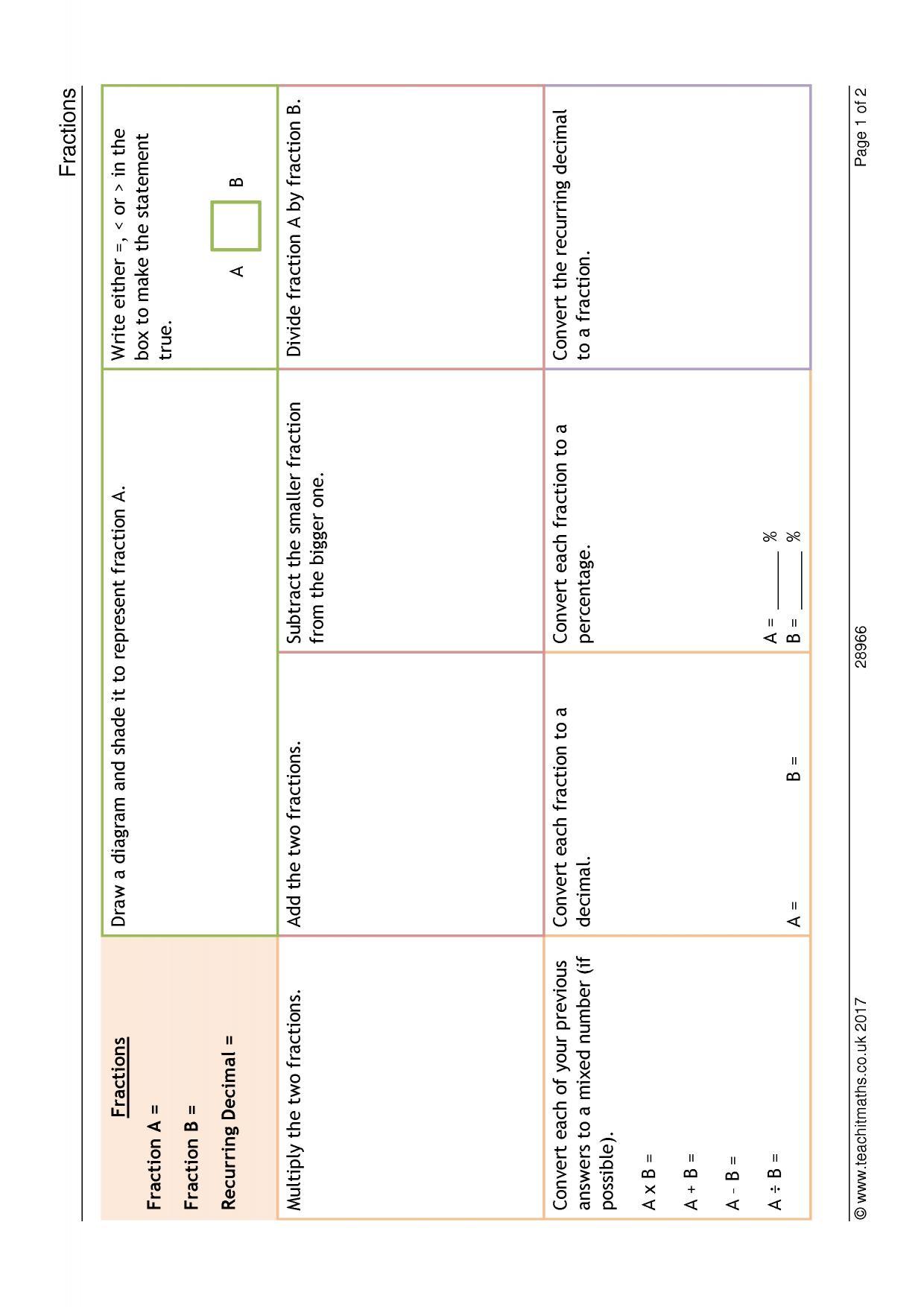 Equivalent Fractions Worksheet Ks4