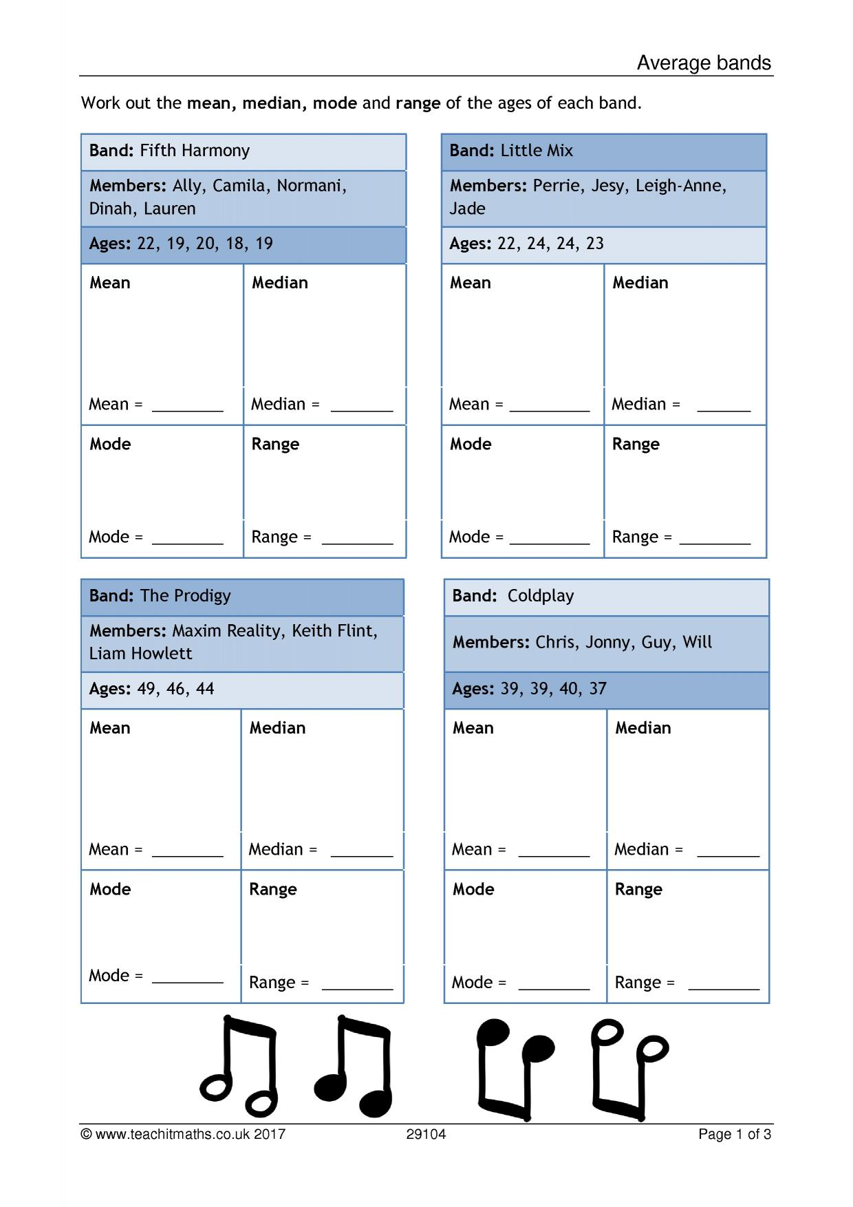 Mean Median Mode Bar Graph Worksheets