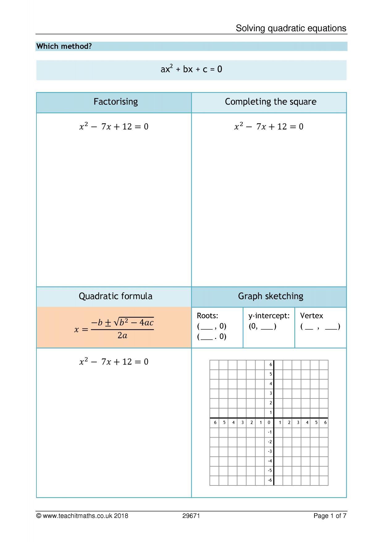 Sketching Quadratic Graphs Worksheet