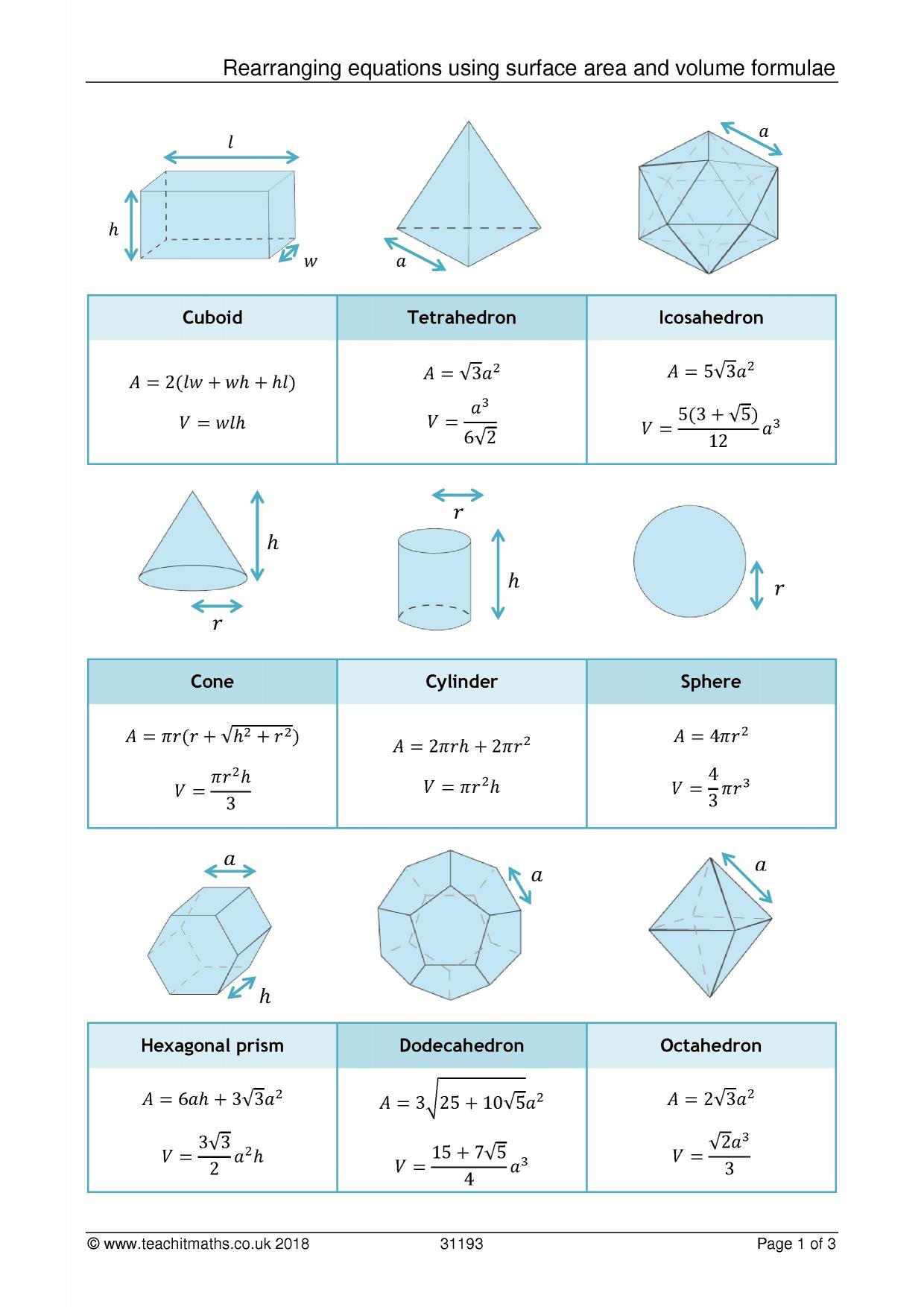 Rearranging Equations With Volume And Surface Area Of 3d