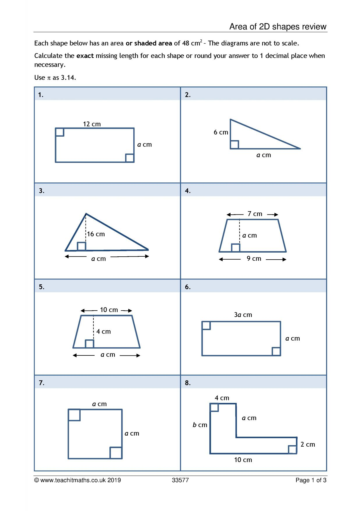 Surface Area Review Worksheet