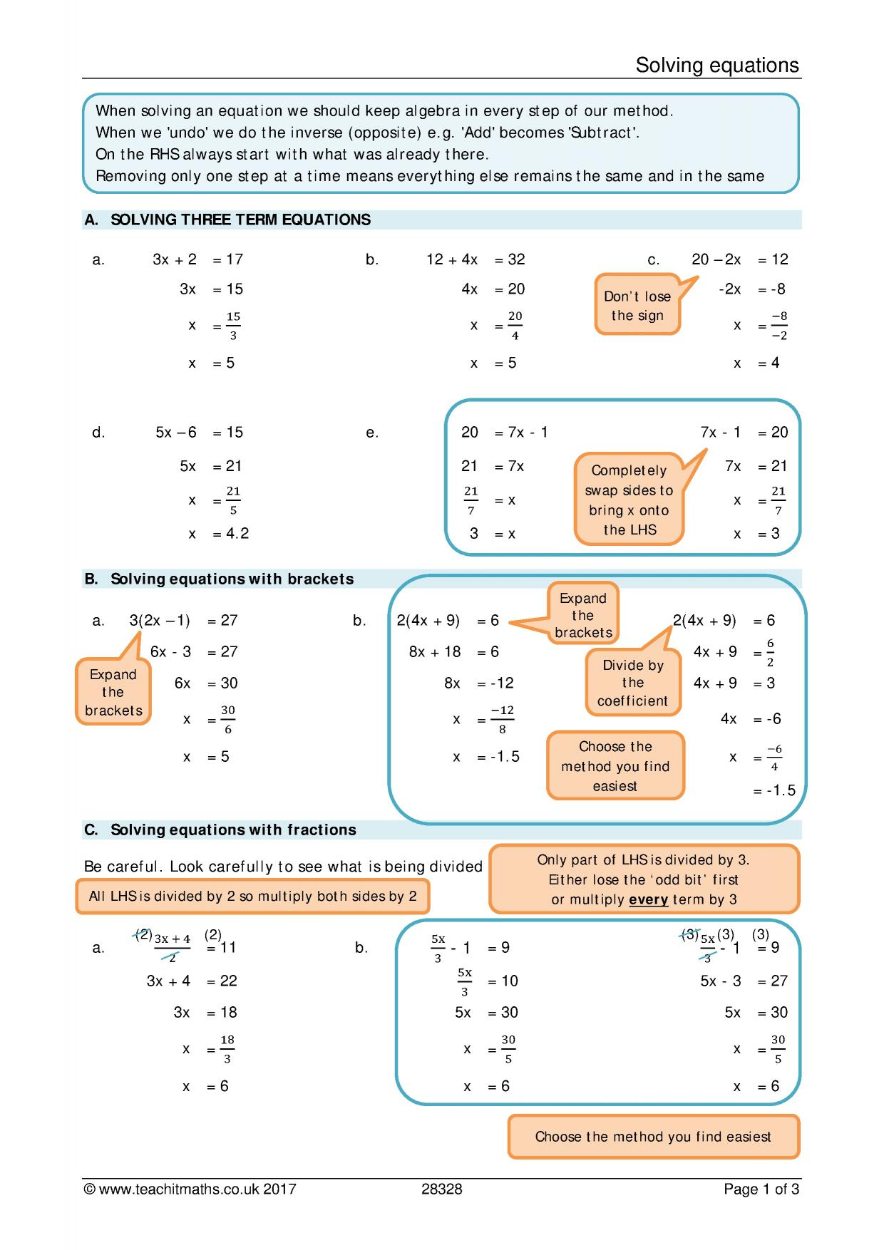 Solving Equations Review Sheet