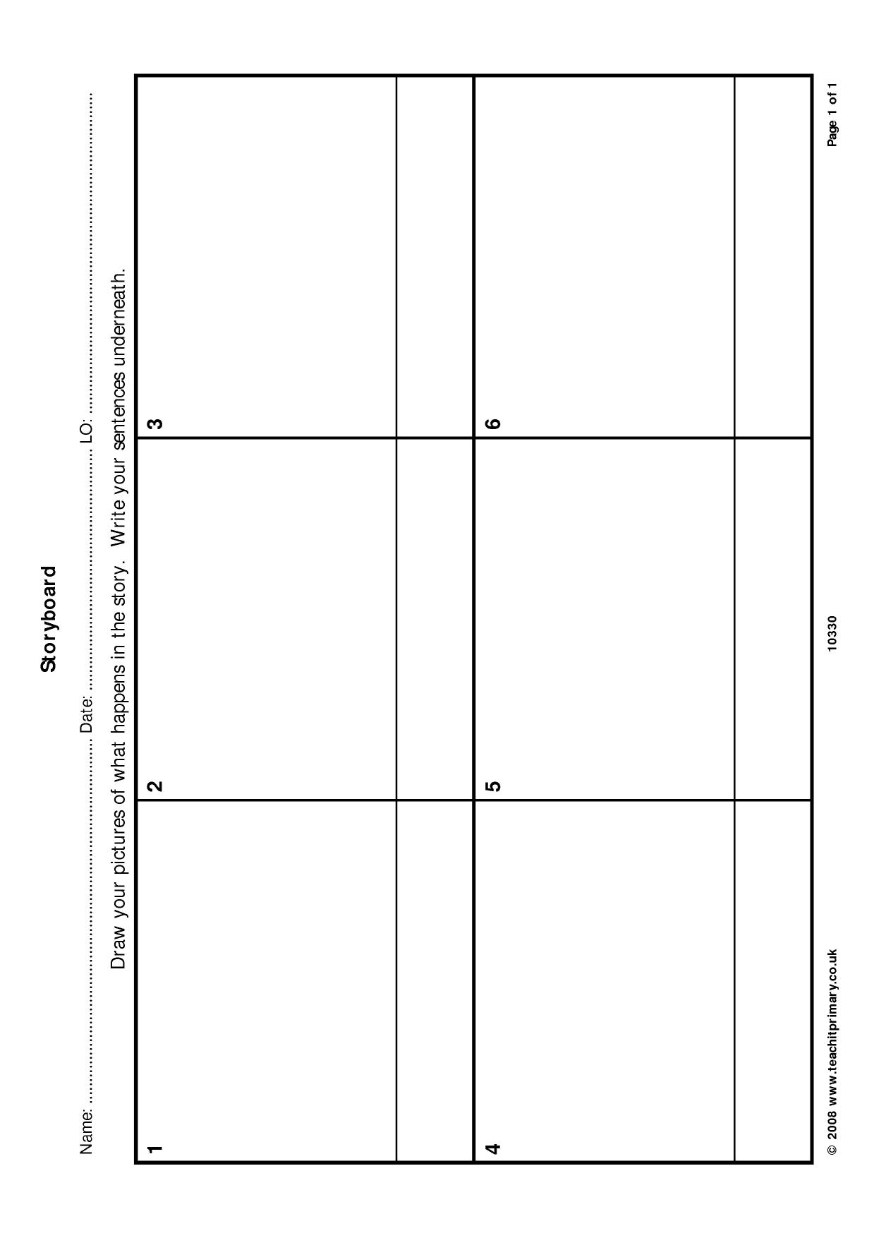 Blank Story Writing Grid