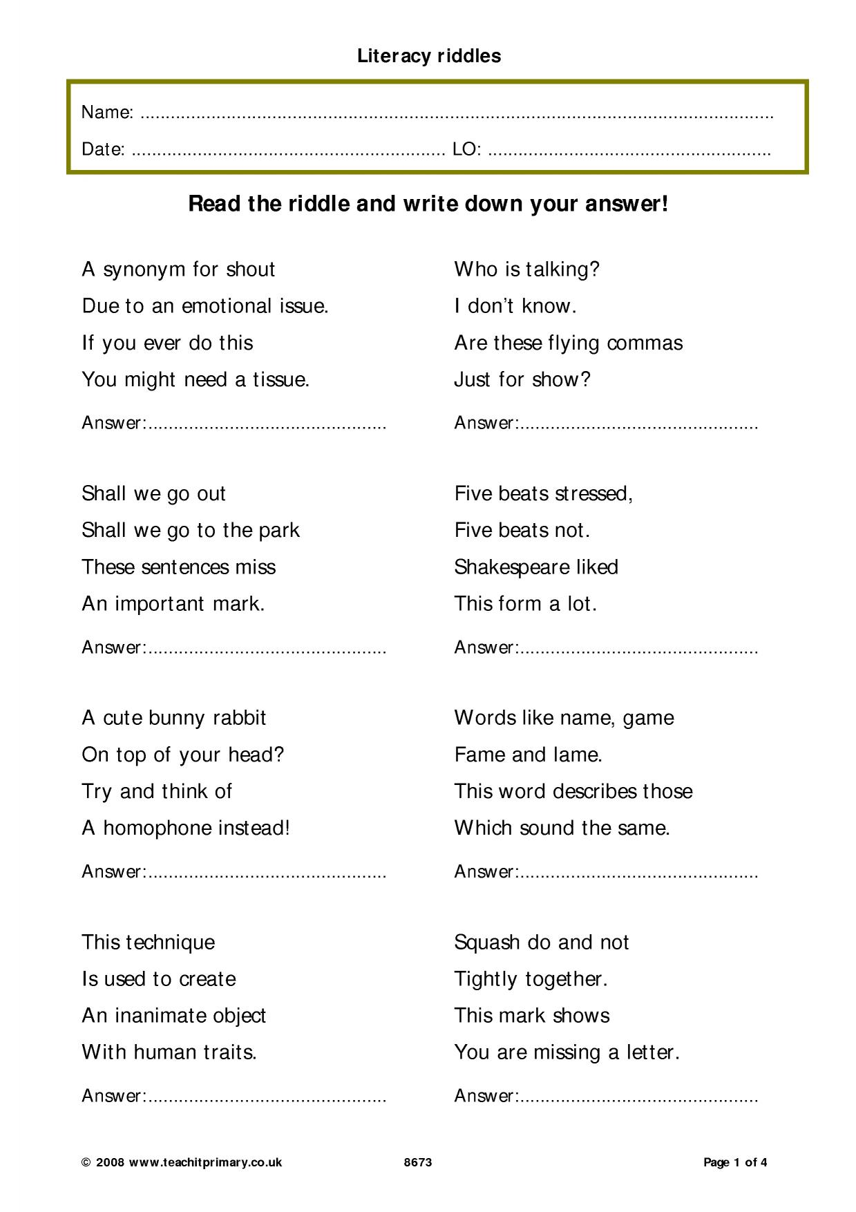 Literacy Related Riddles