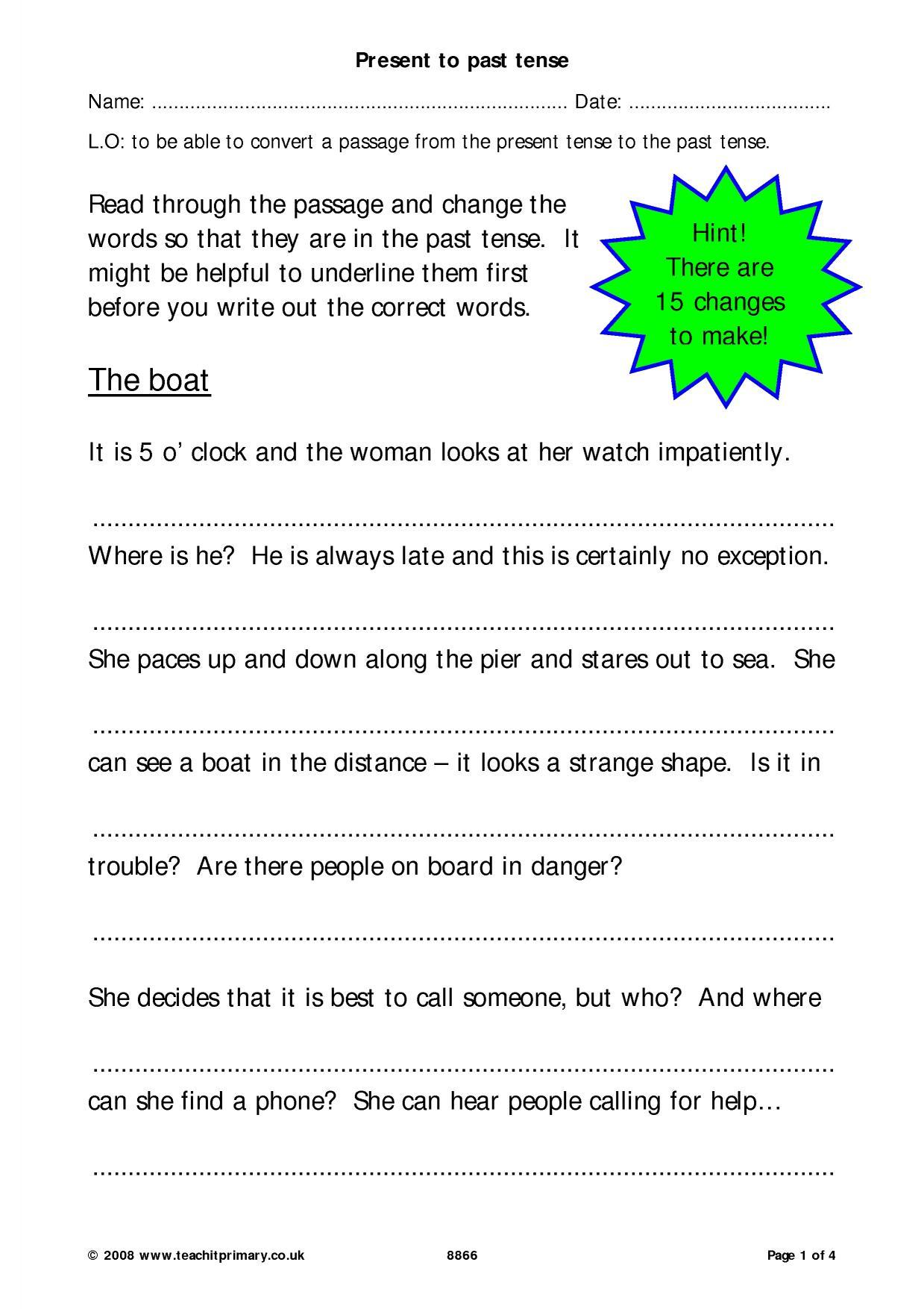 Past Tense Verbs Worksheet Ks1
