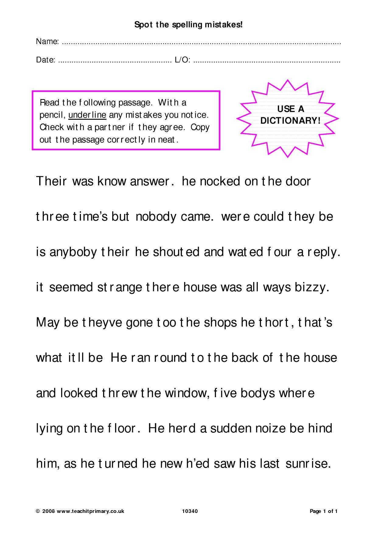 Proofreading Practice Ks2