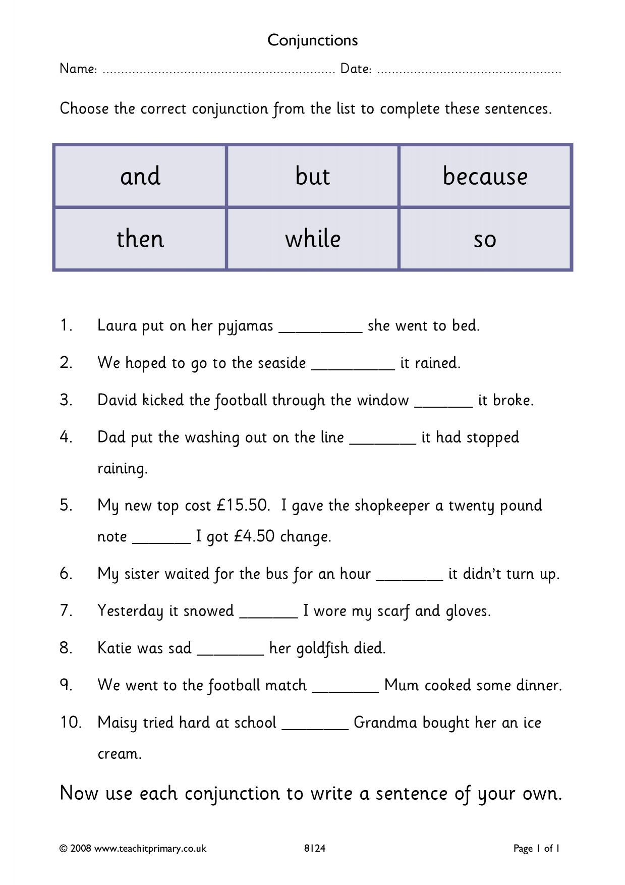 Time Connectives Worksheet Year 5