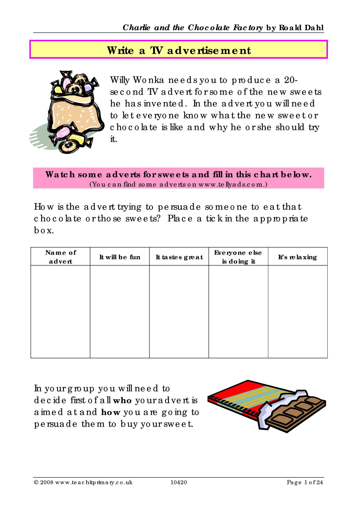 Free Chocolate Worksheet
