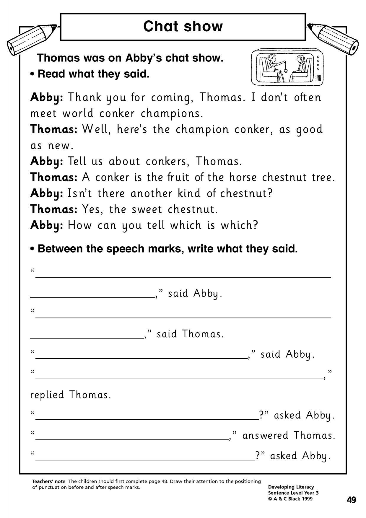 Speech Worksheets