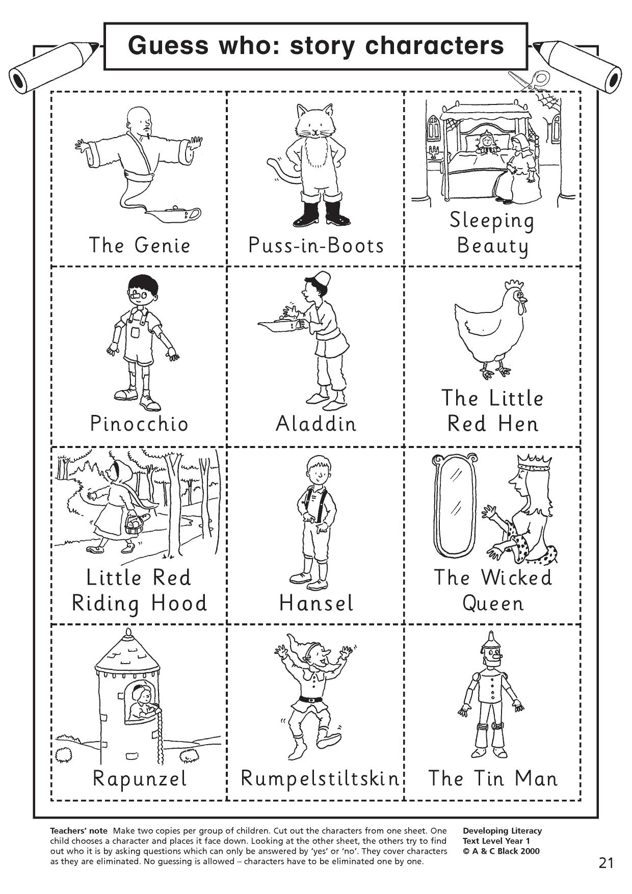 Character Worksheet Primary