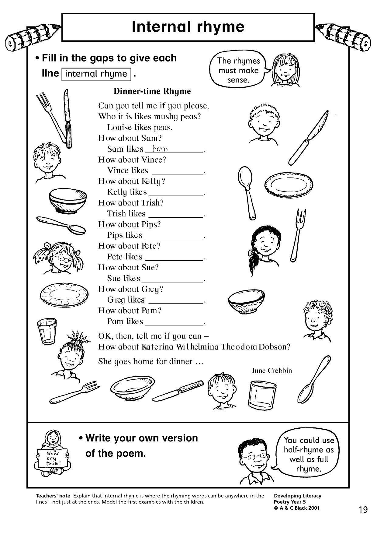 Find Words That Rhyme Worksheets First Grade And Poetry Find Best Free Printable Worksheets
