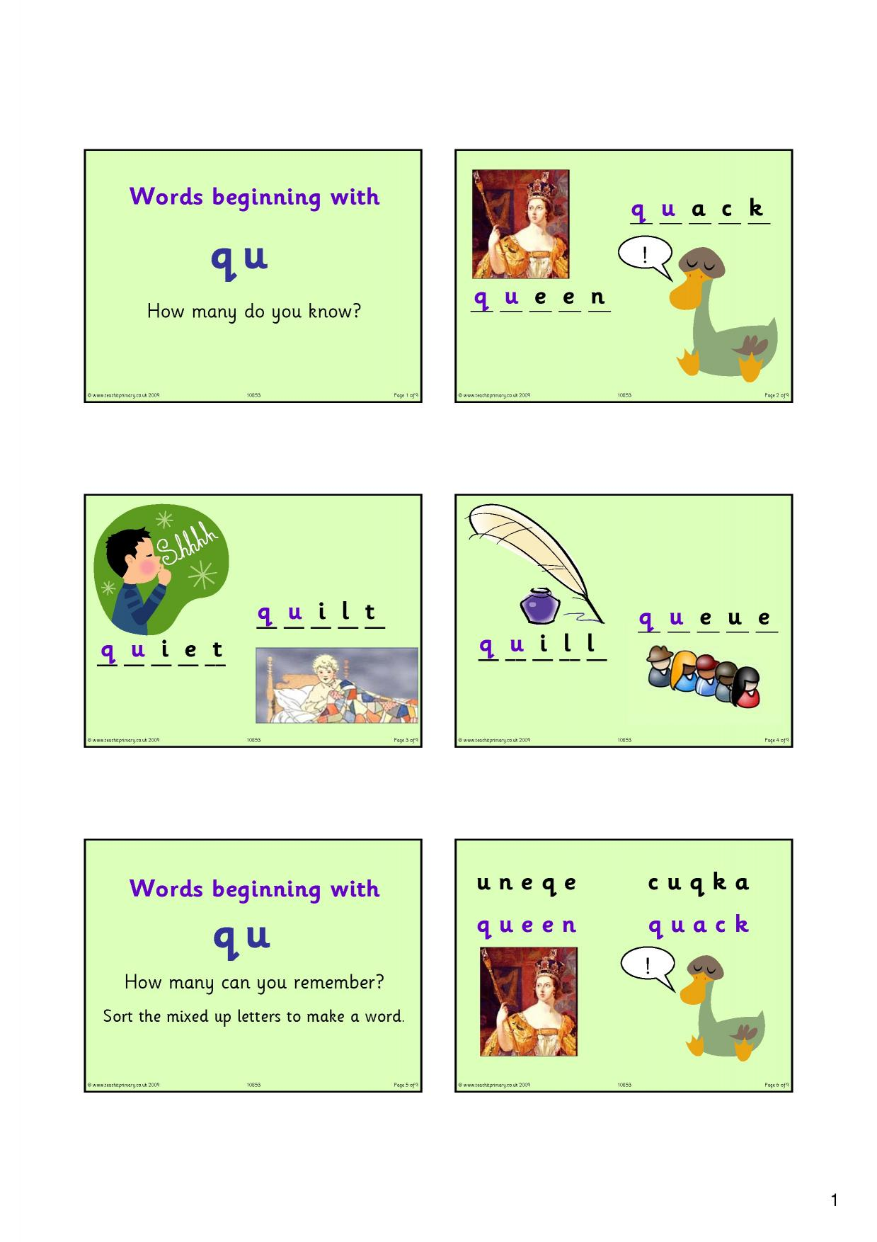 Words Starting With Qu
