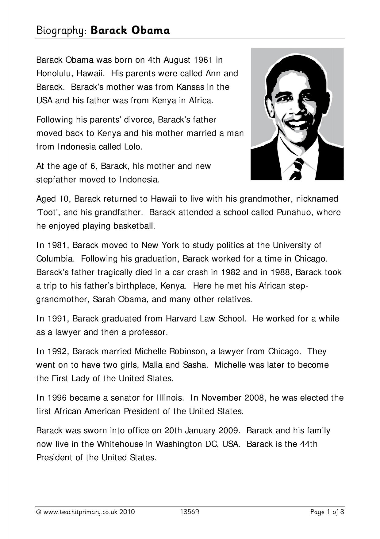 Roald Dahl Biography Ks2 Planning Biography Ks2 Word Bank Biography Barack Obama Biography
