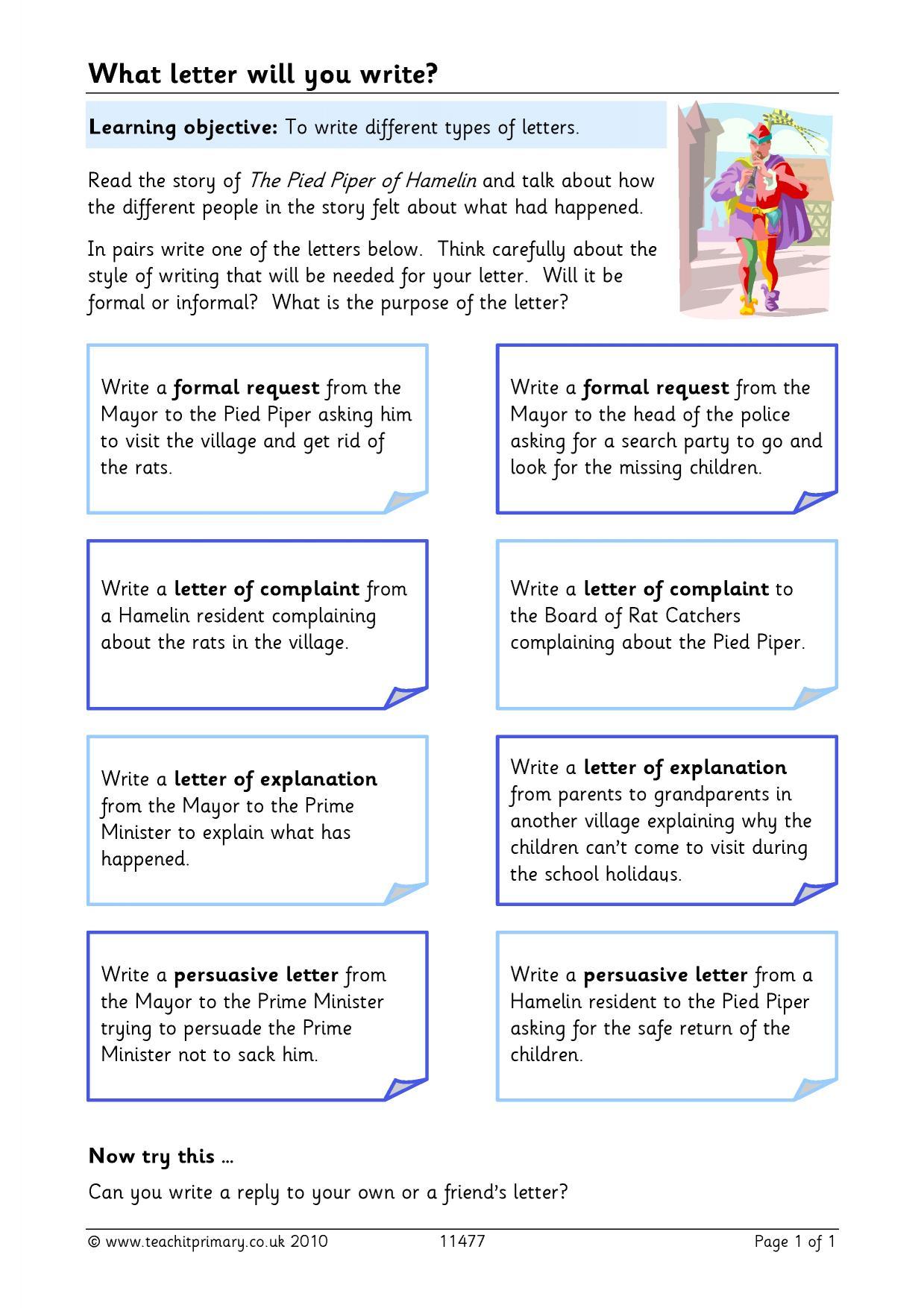 Letter Homework Ks2