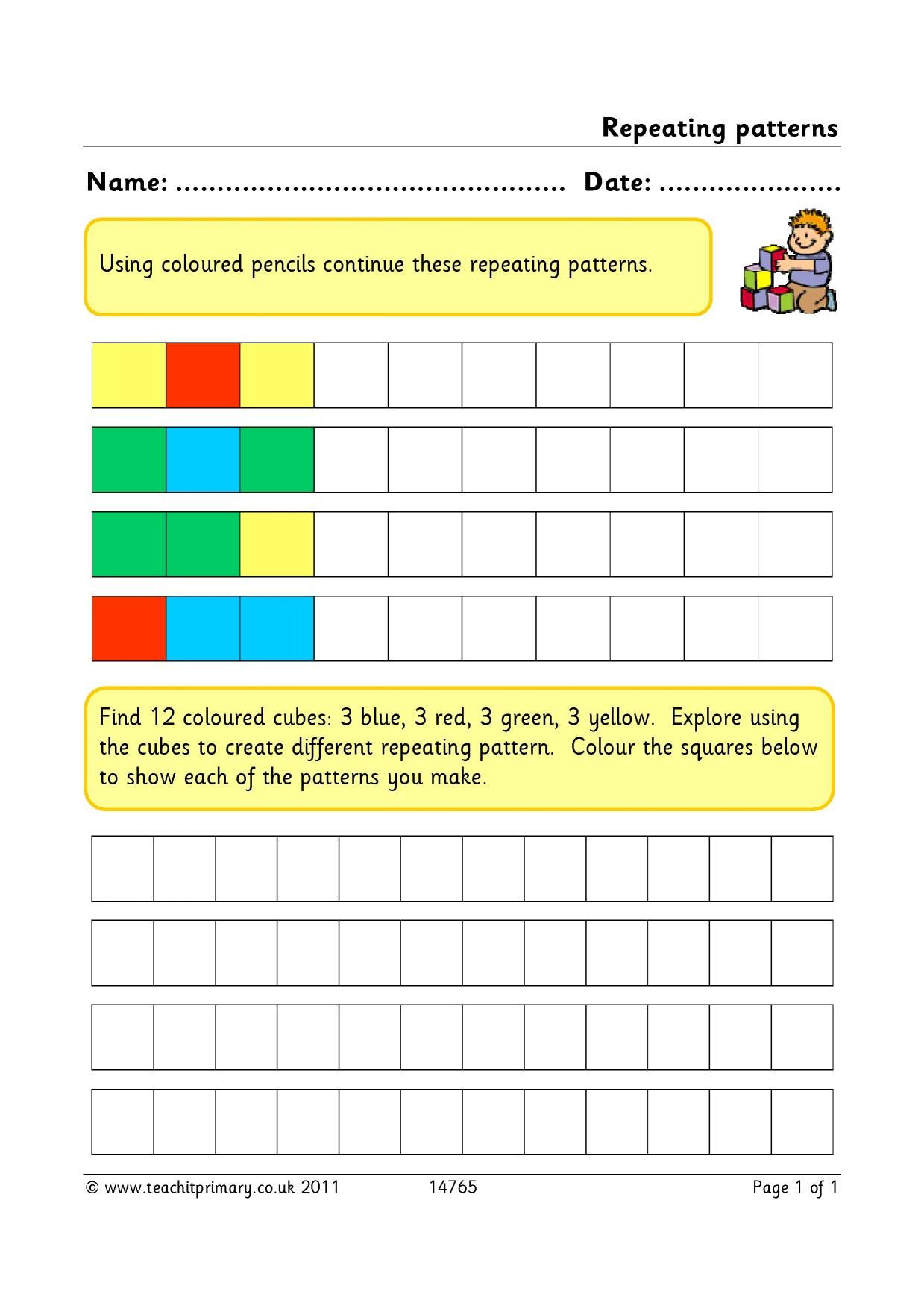 Repeating Patterns Worksheet First Quadrant Coordinate Grid