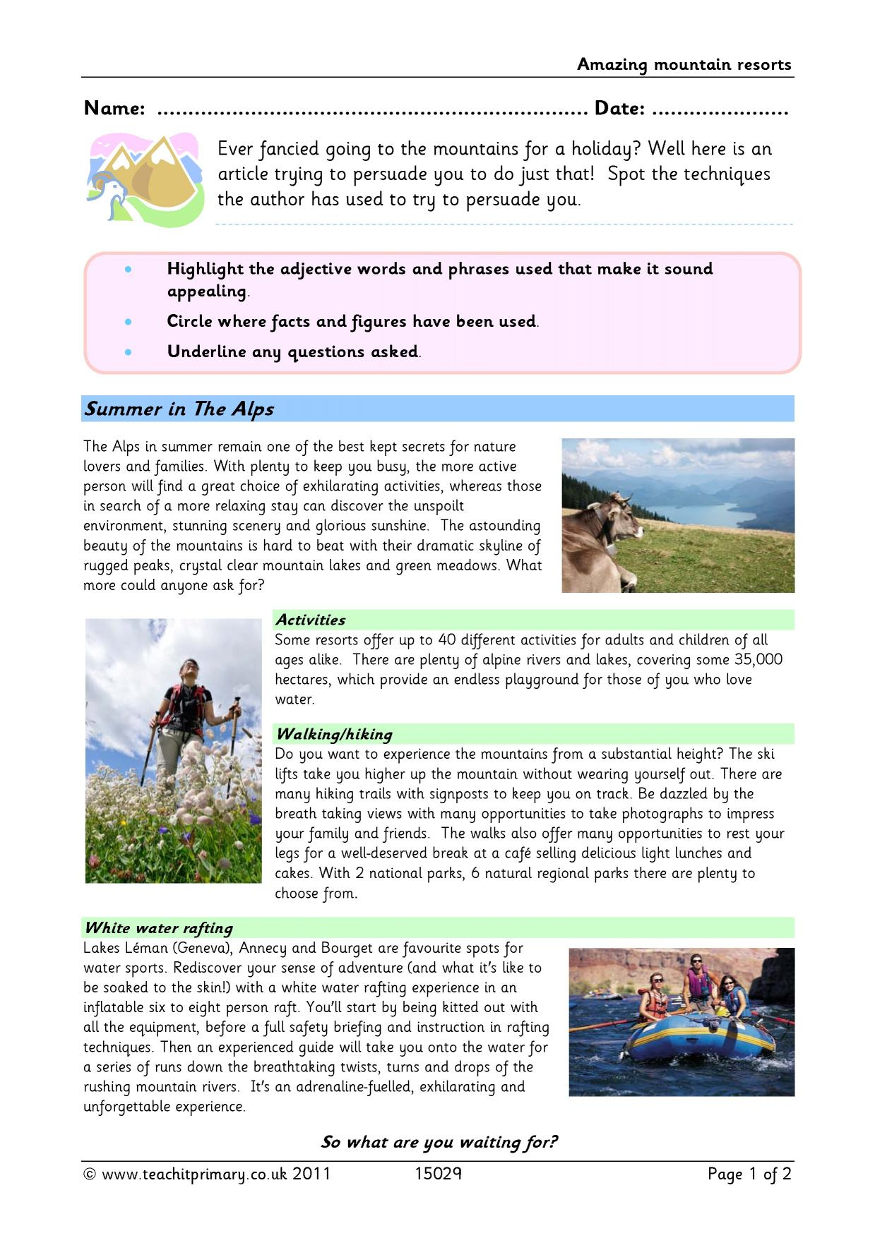 15 Best New Tourist Brochure Template Ks2