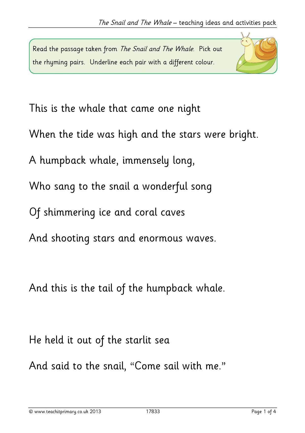 The Snail And The Whale Teaching Ideas And Activities