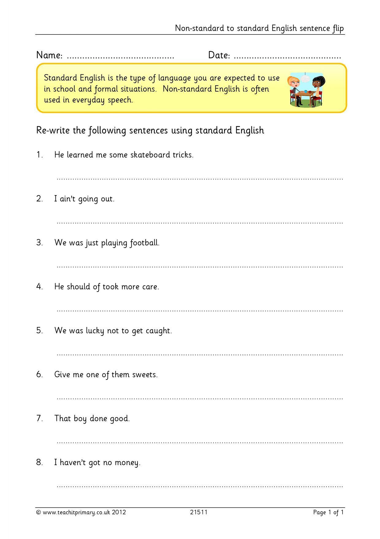 Non Standard To Standard English Sentence Flip