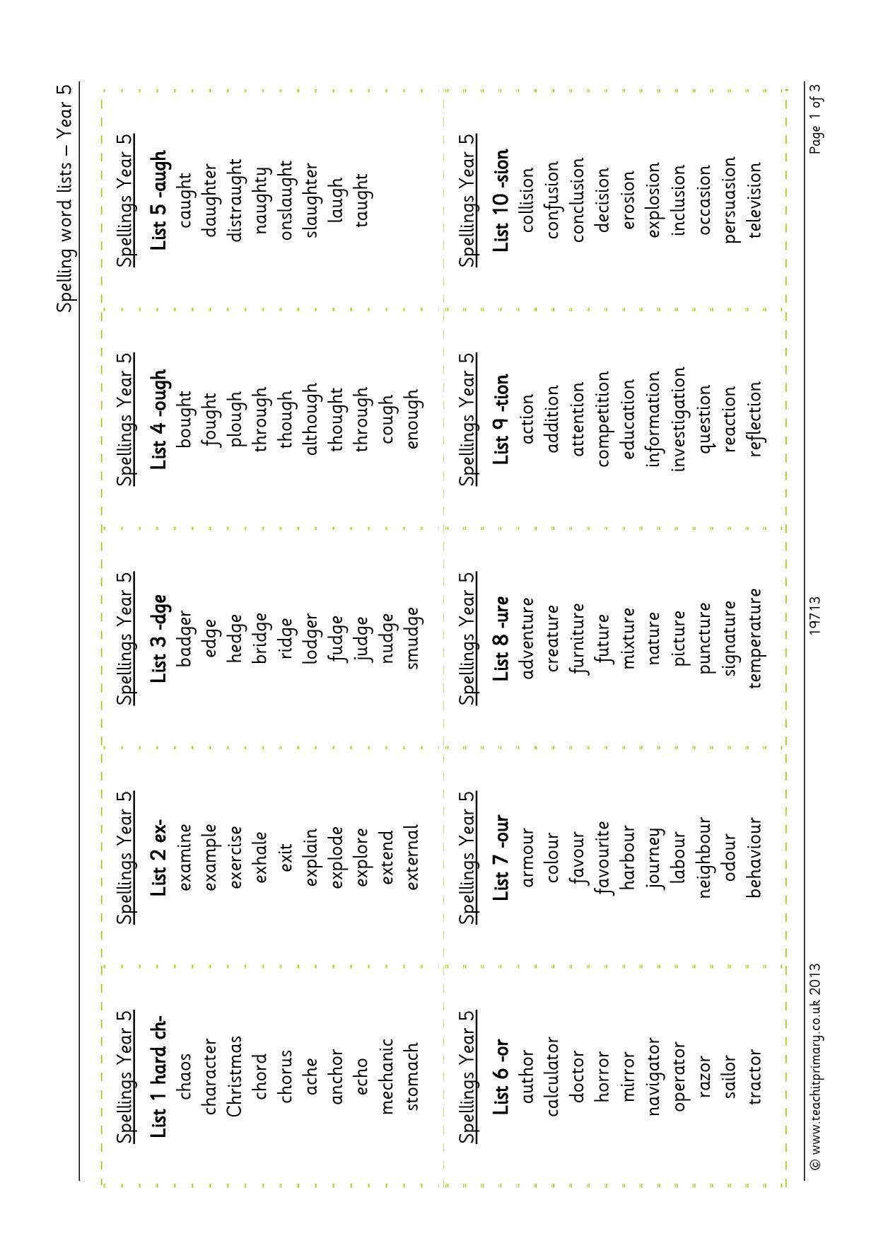 Spelling Word Lists Year 5 Spelling Tests Ks2