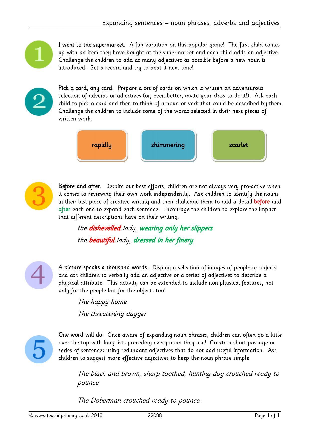 Worksheet Adjectives Ks1