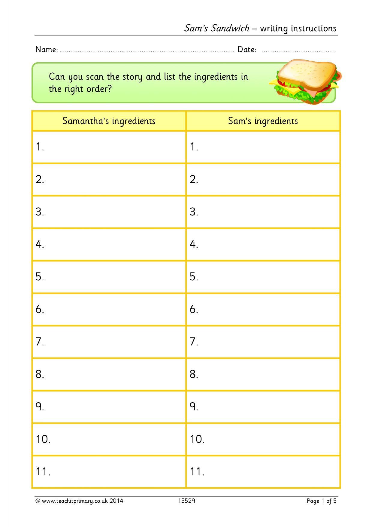 Sam S Sandwich Writing Instructions