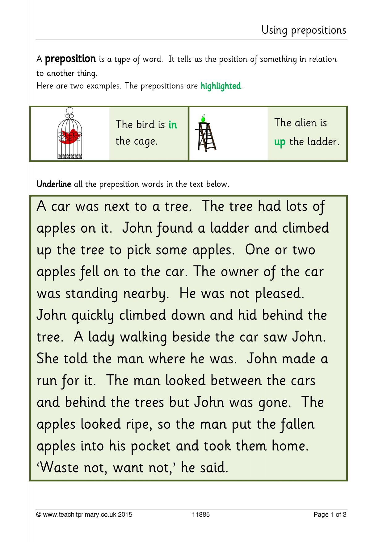 Preposition Worksheet Ks2