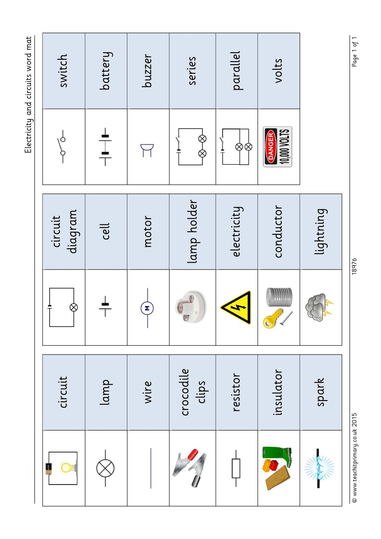 Electricity And Circuits Word Mat