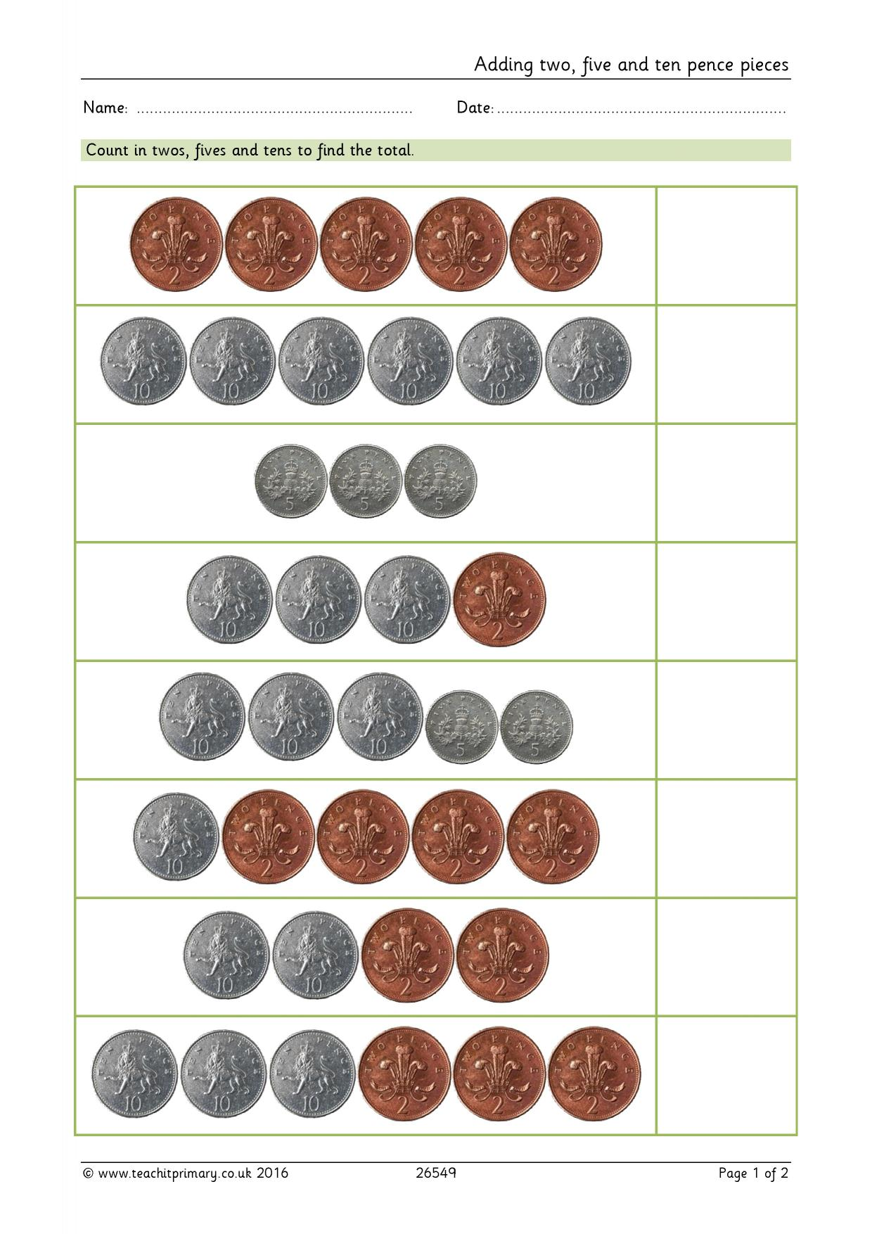 Coins Money Worksheet Uk