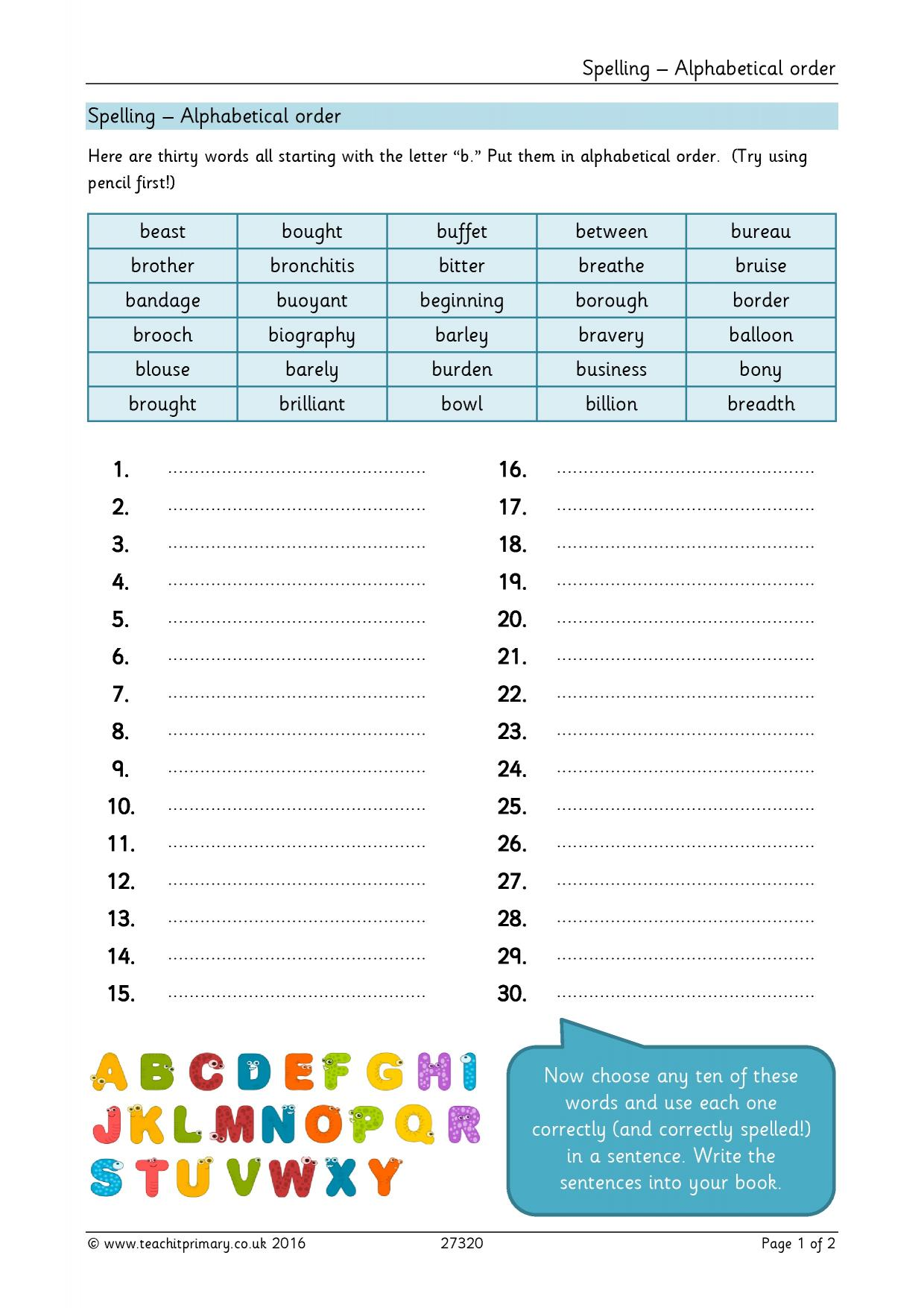 Spelling Practice Worksheets Ks2