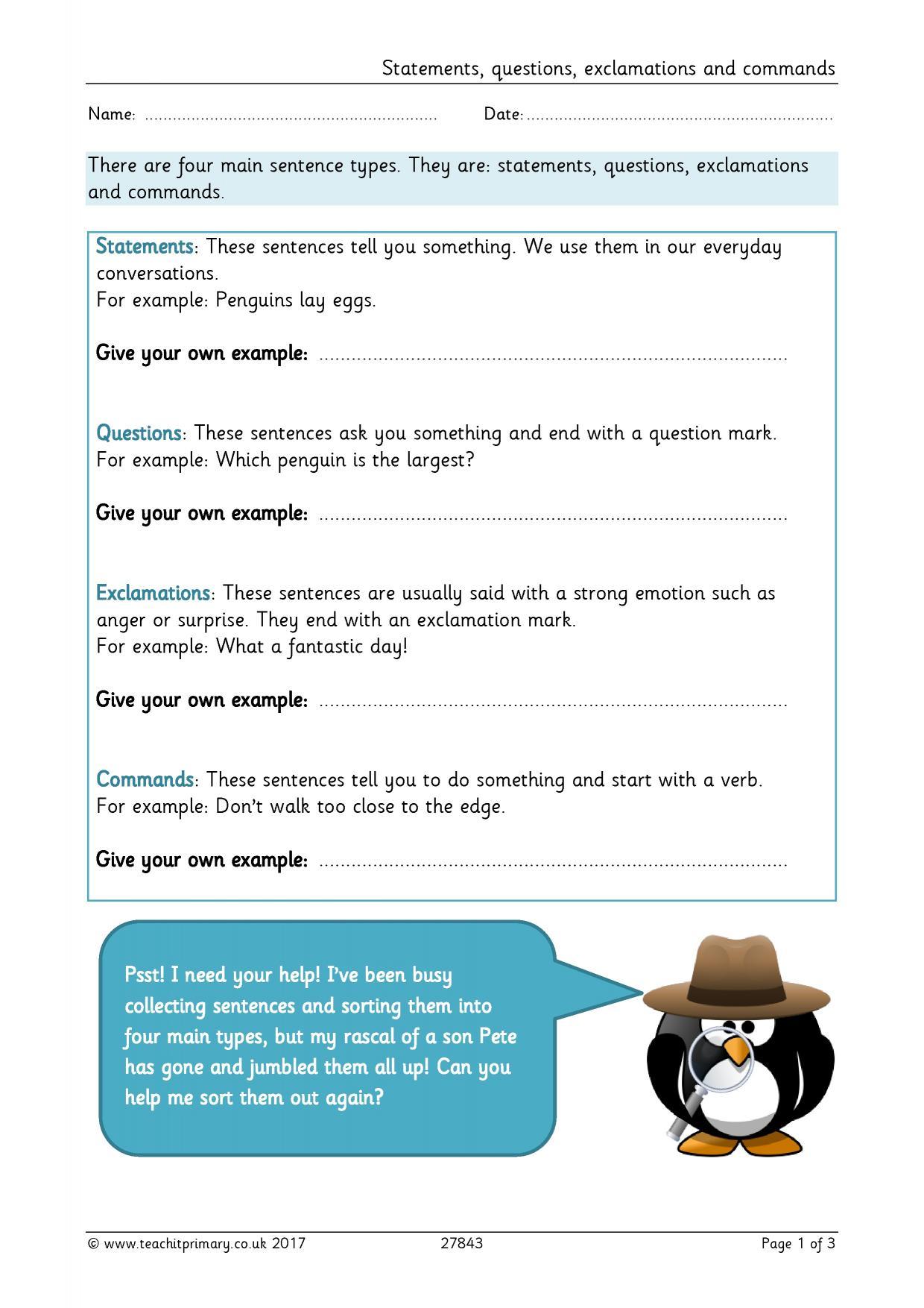 Types Of Sentences Ks1 Worksheet