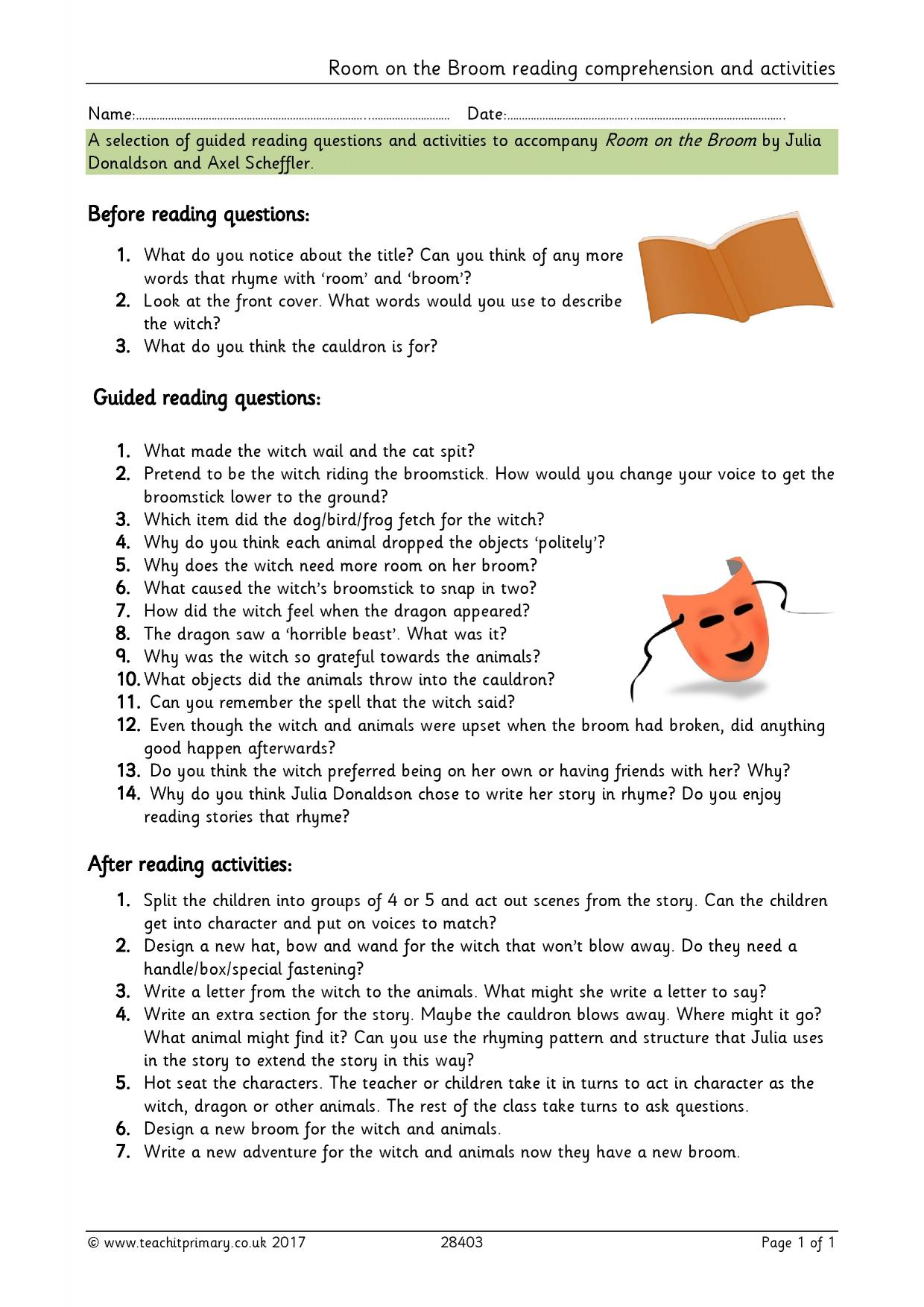 Room On The Broom Reading Comprehension And Activities