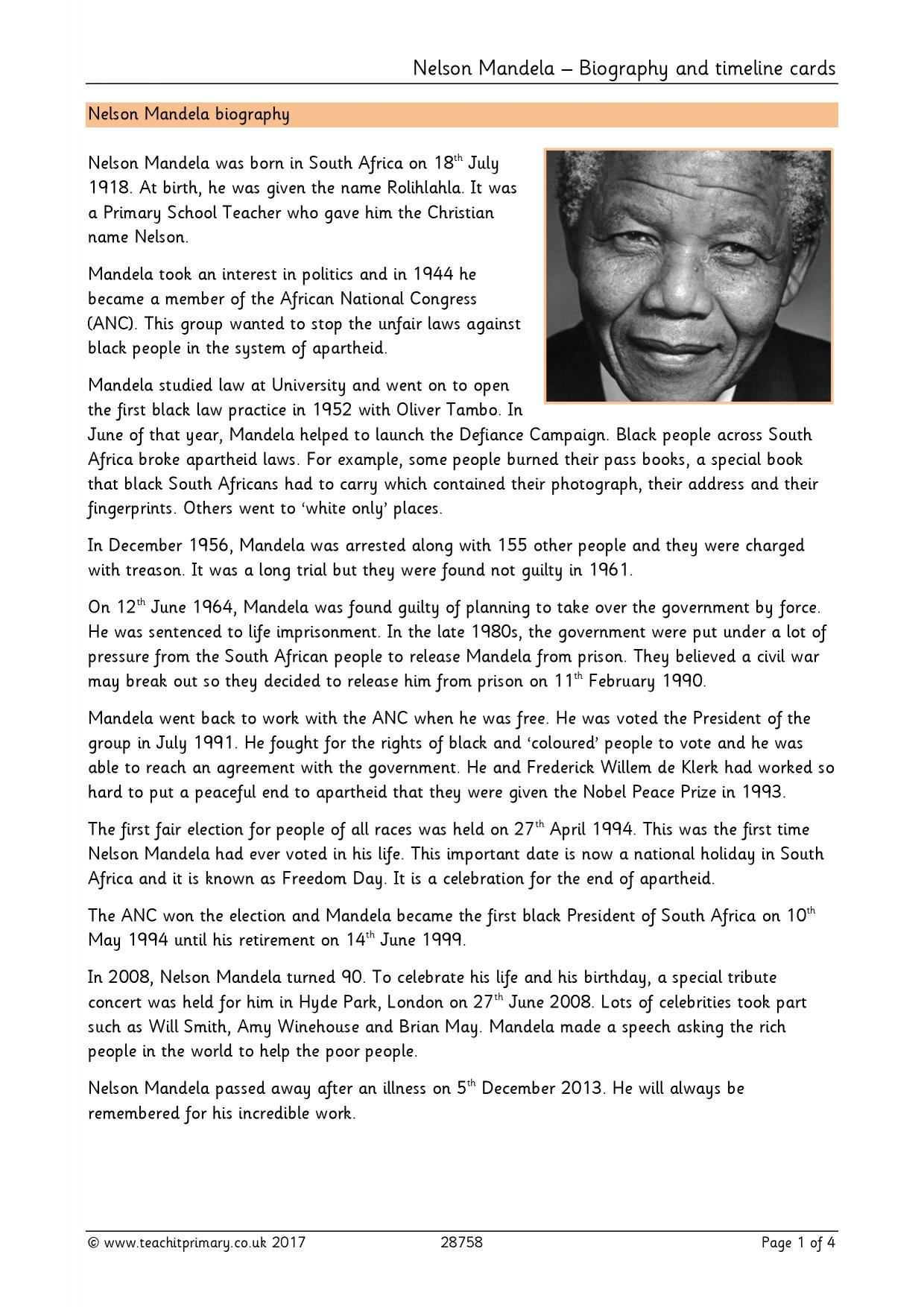 Nelson Mandela Biography And Timeline Cards