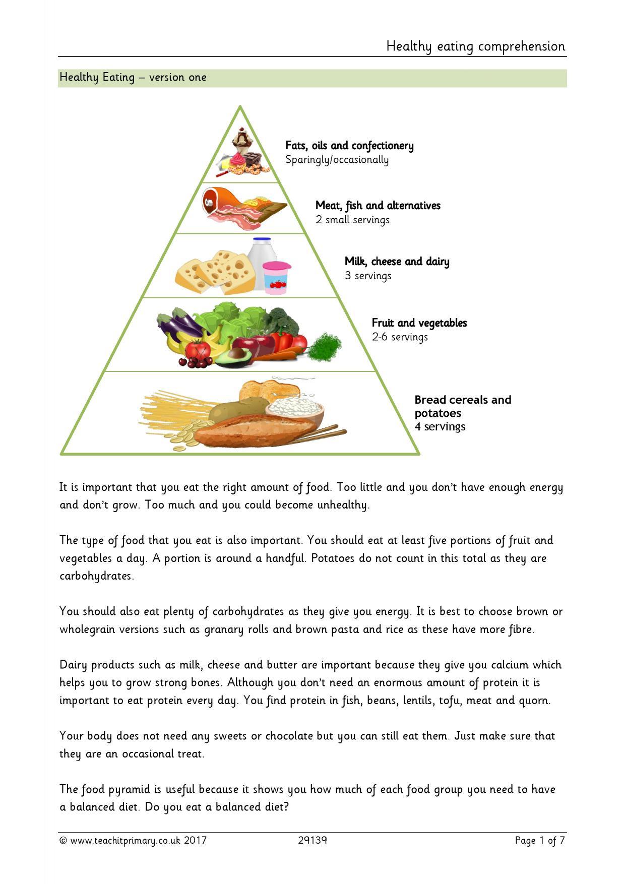 Healthy Eating Comprehension