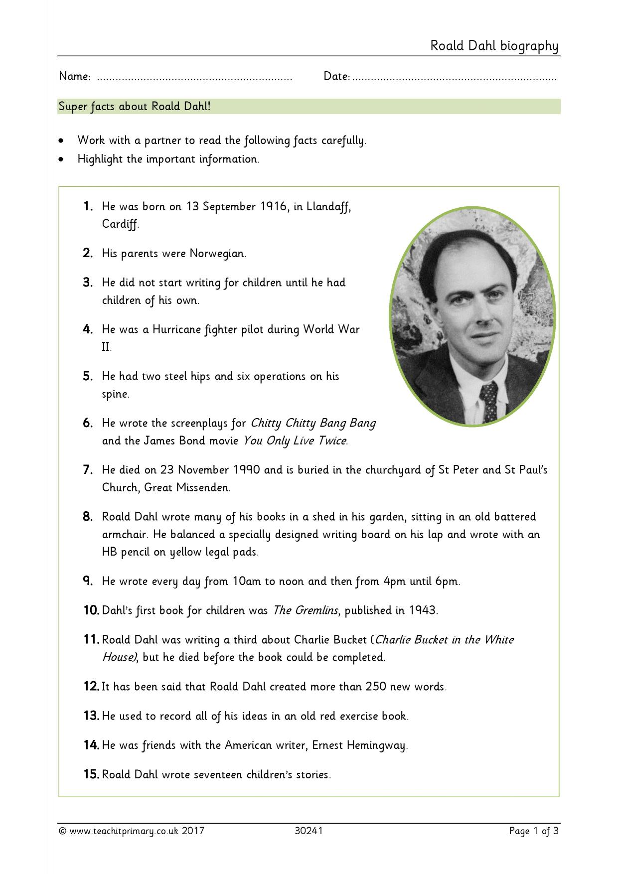Roald Dahl Biography Ks2 Planning Eyfs Ks1 Ks2 Biography