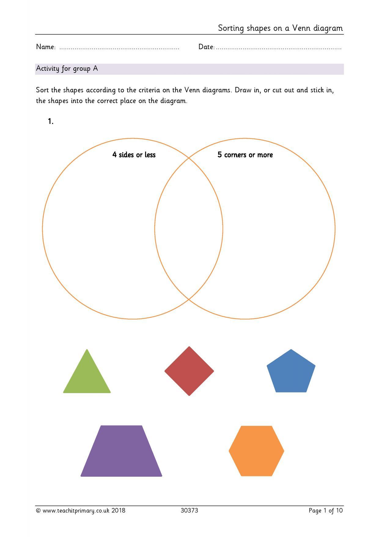 Sorting Shapes On A Venn Diagram