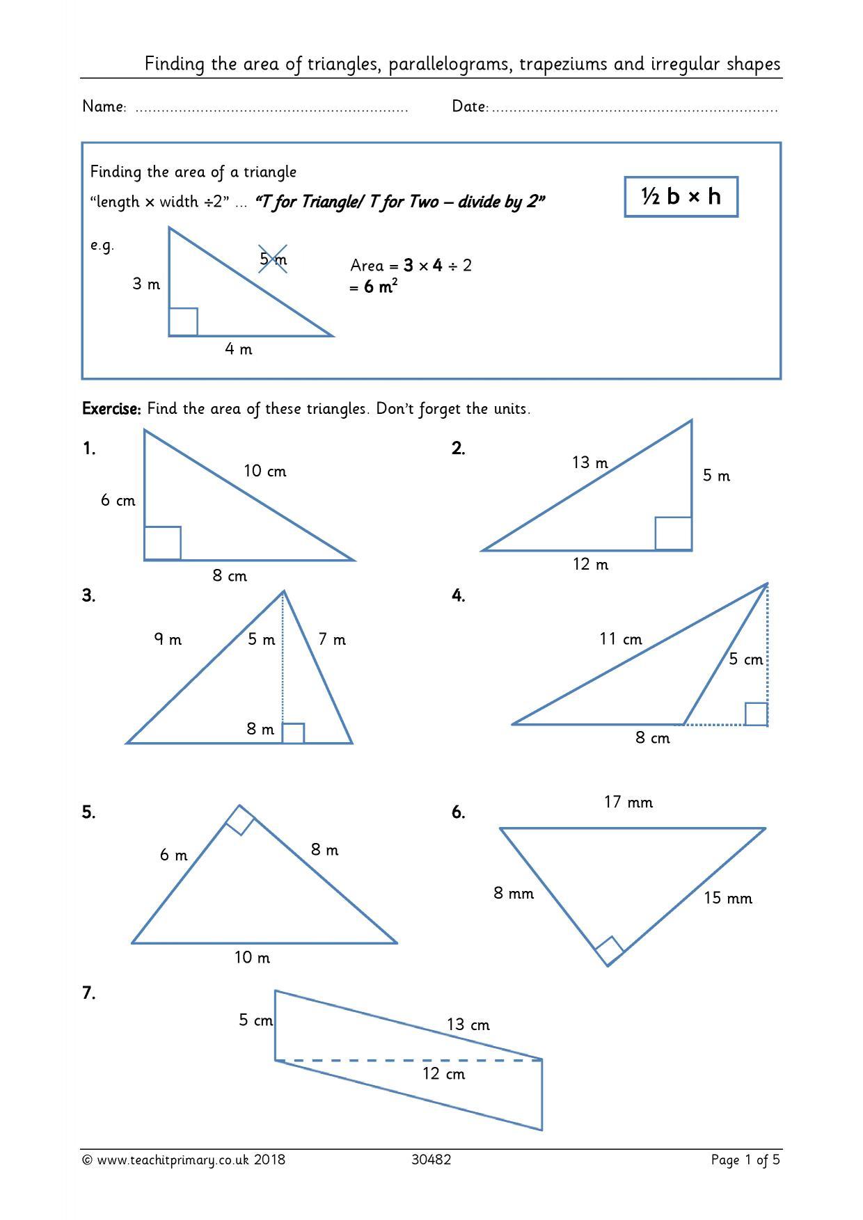 Area Worksheet Geometry