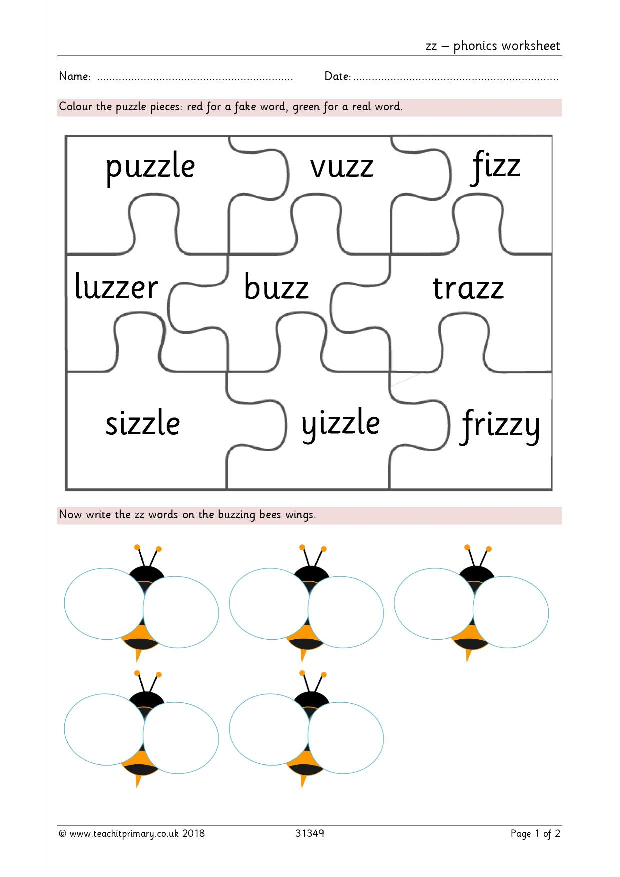 Phonics Worksheet Year 2 Uk