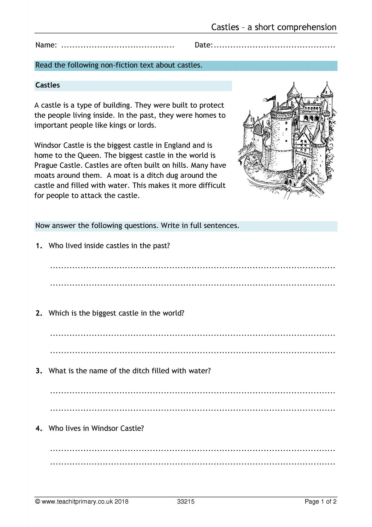 Free Comprehension Worksheet Ks1