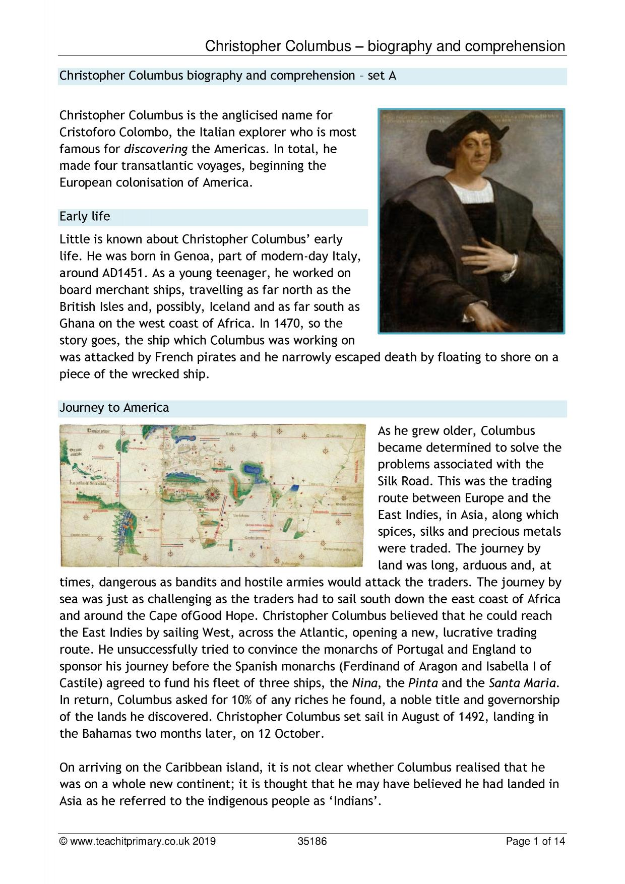 Christopher Columbus Biography And Comprehension