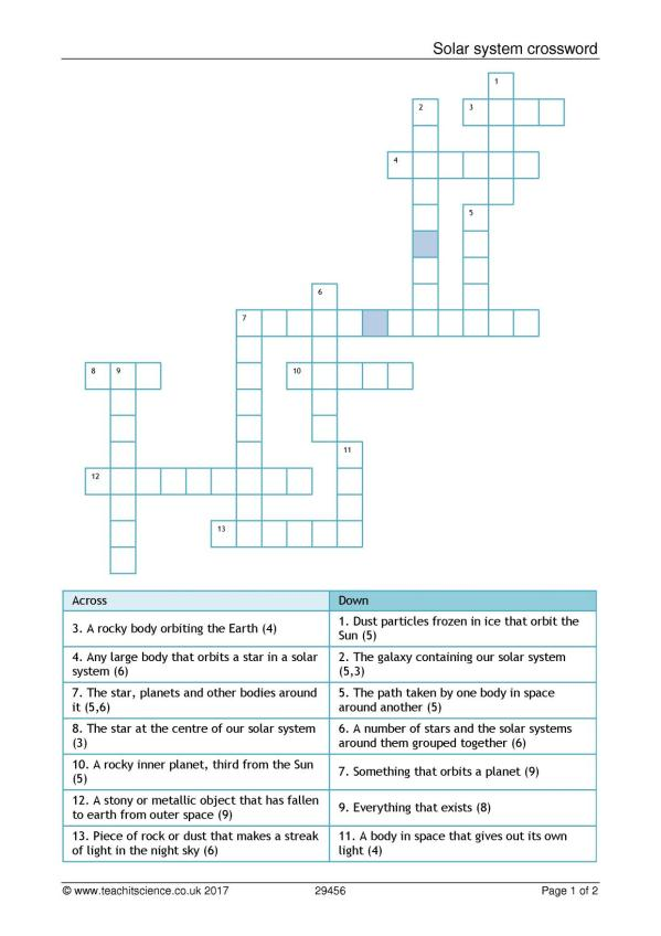 Solar System Crossword Puzzle Review - Solar System Pics