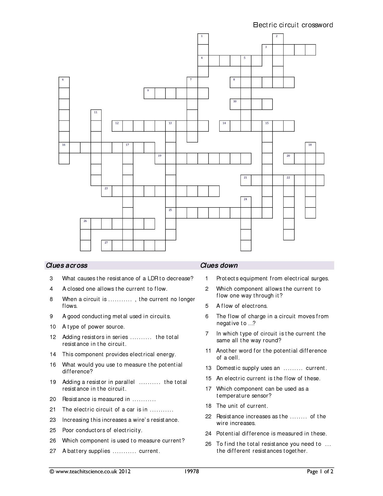 Electric Circuit Crossword