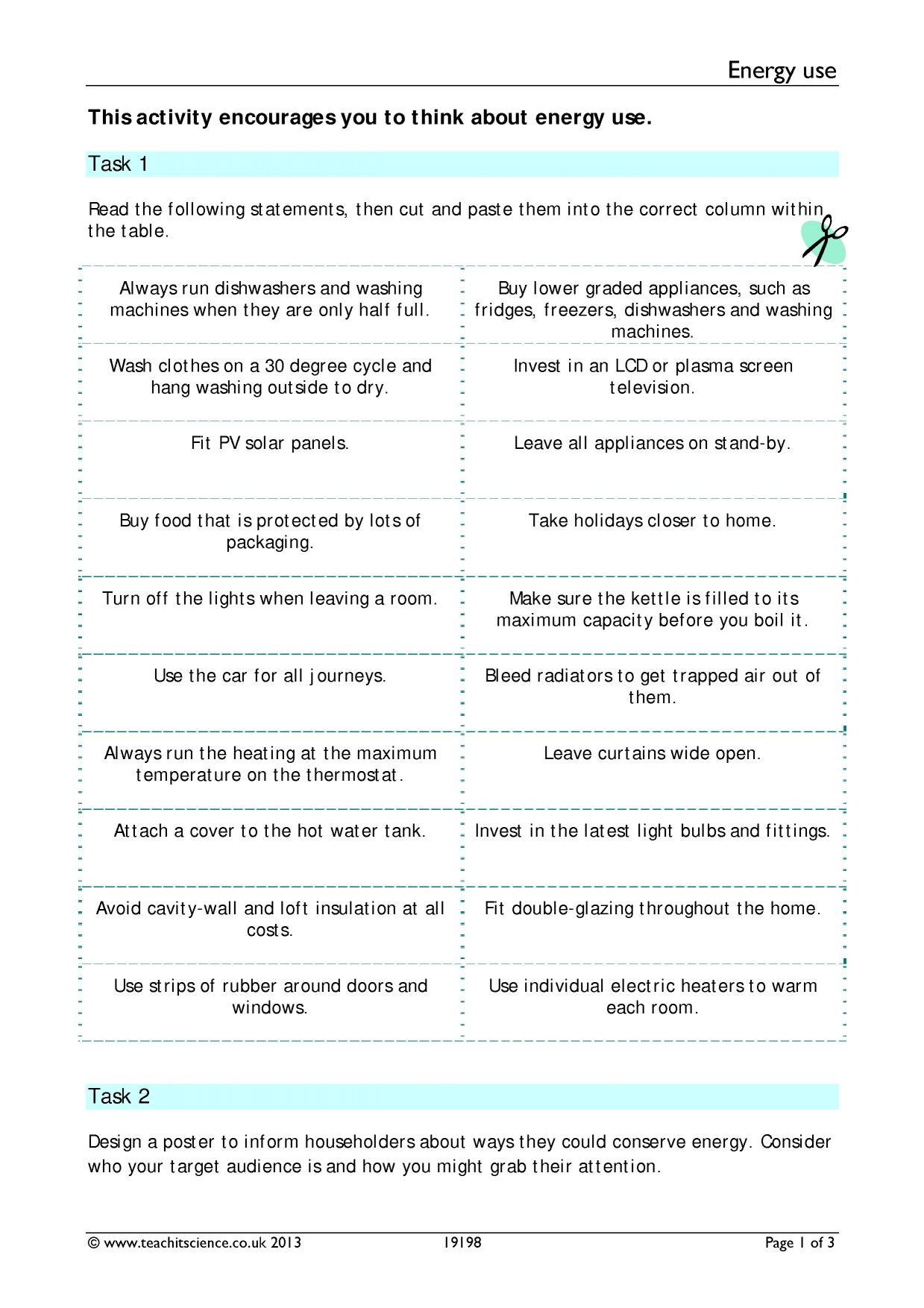 Energy Efficiency Worksheet Ks3