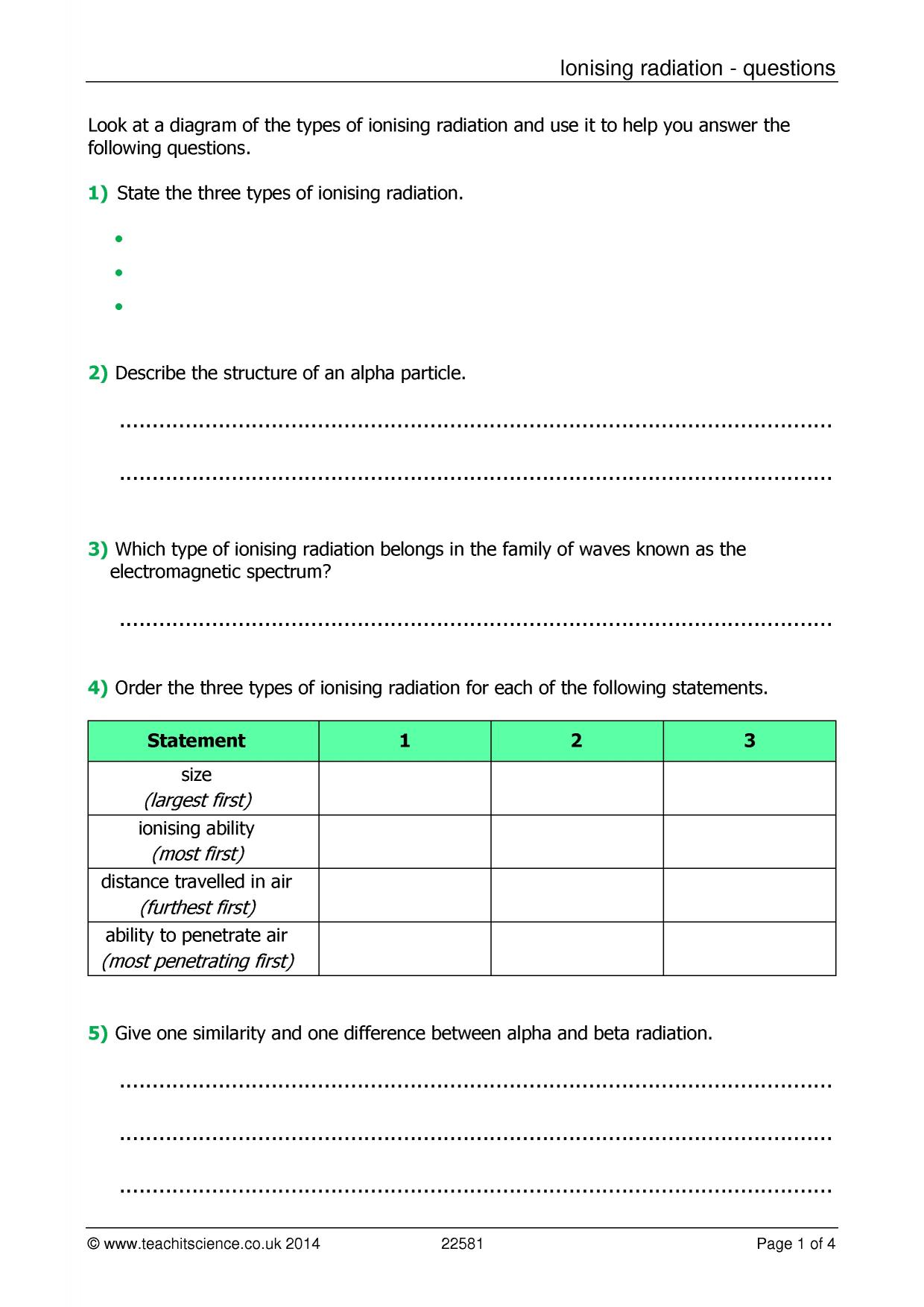 Alpha Beta And Gamma Radiation Worksheet Answers