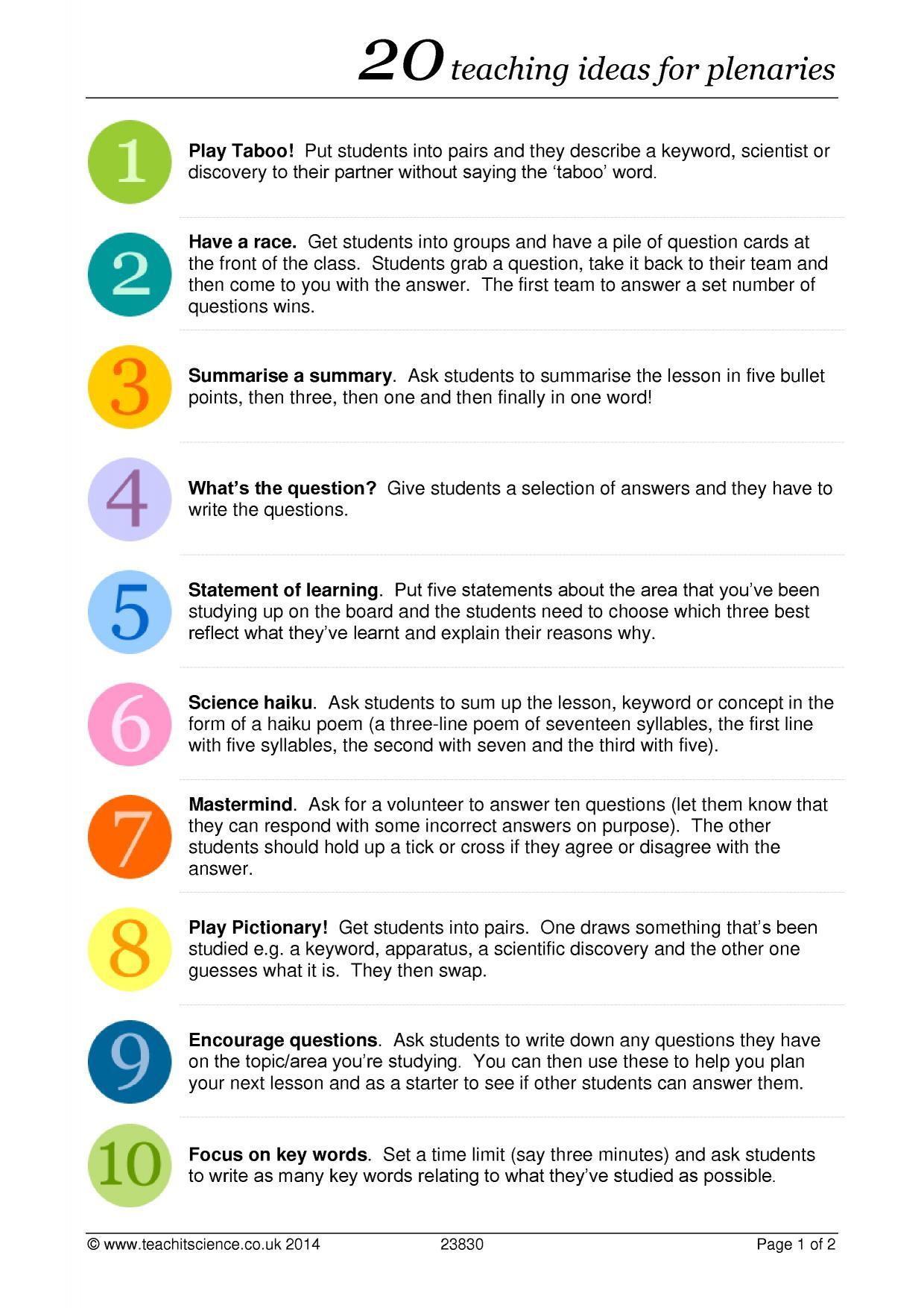 20 Teaching Ideas For Plenaries
