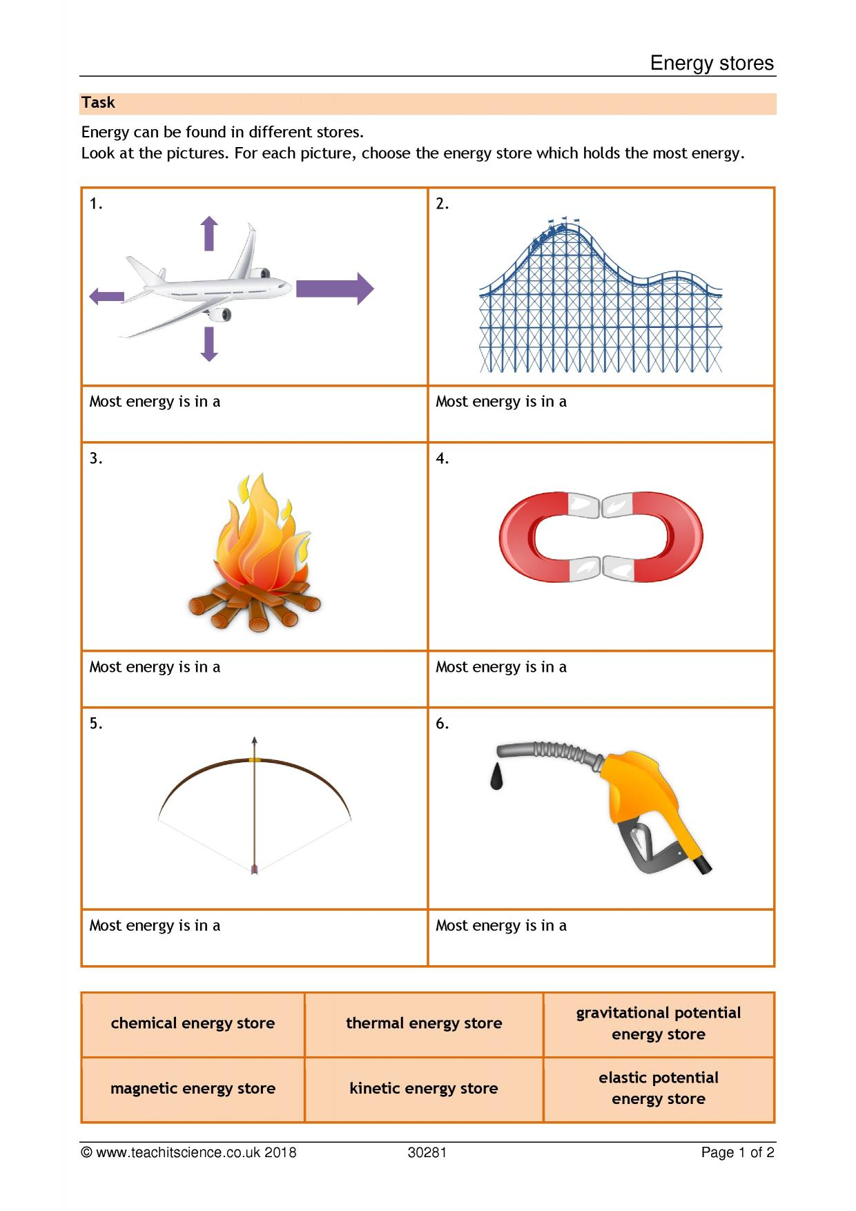 Printables Of Energy Worksheet Ks3