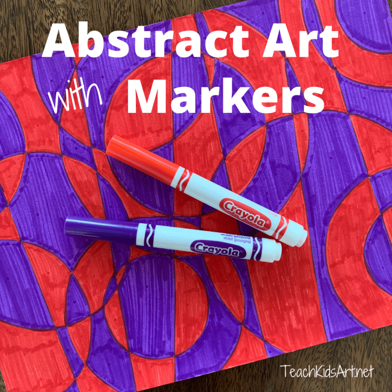 This is a photo of an abstract art project made with Markers, inspired by Robert and Sandra Delaunay.
