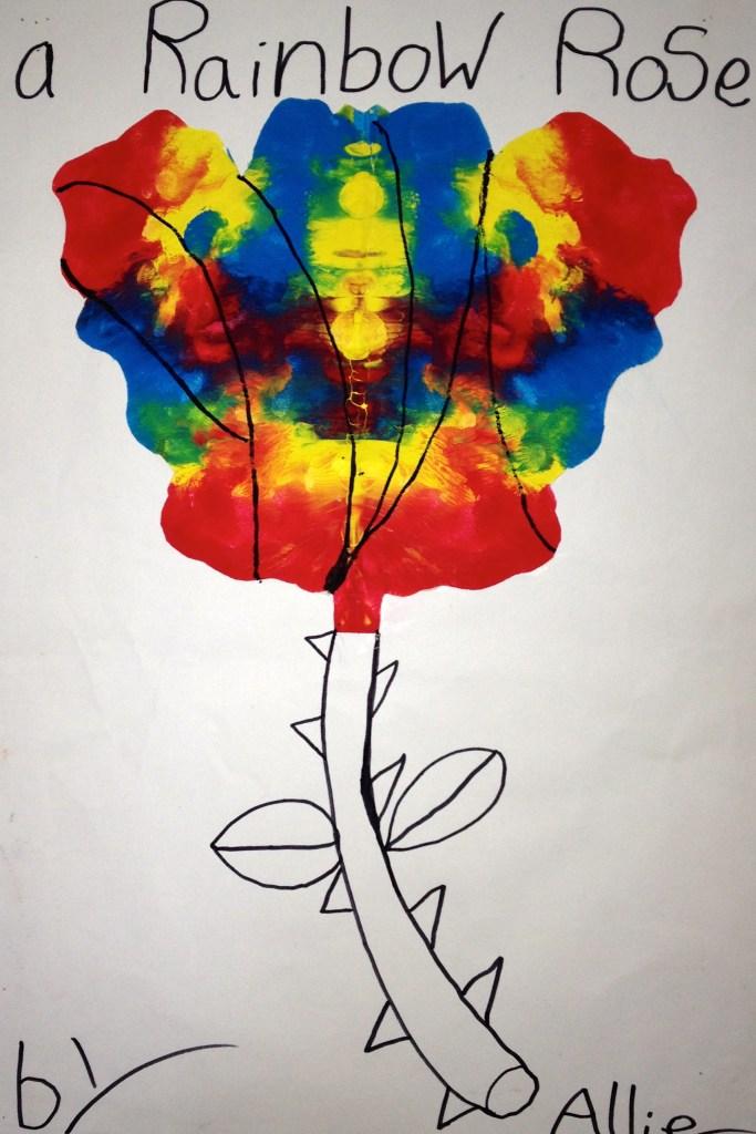 K Rorschach Print - a rainbow rose