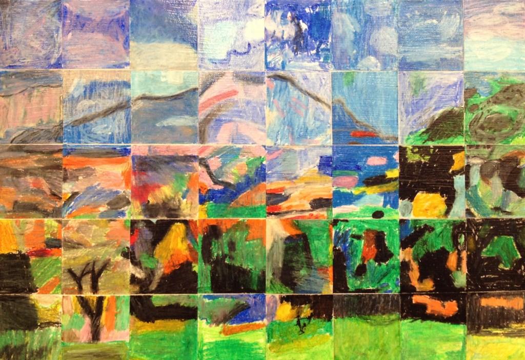 "2nd Grade Masterpiece Mosaic of ""Montagne Saint Victoire"" by Paul Cezanne"